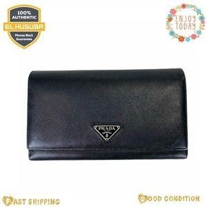 Prada long wallet Black leather wallet